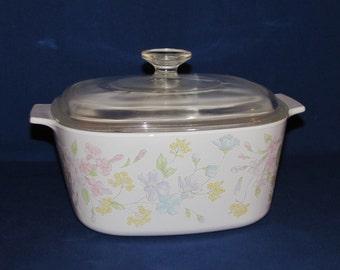 Corning Ware Pastel Bouquet A-3-B Large Casserole Dish with Lid Corningware 3 Quart
