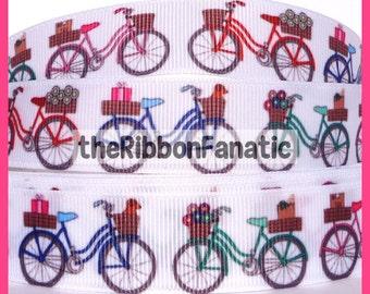 "5 yds 7/8"" Vintage Retro Bicycle Cruiser with Basket Grosgrain Ribbon"