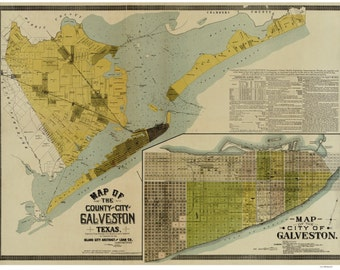 Galveston County, Texas - 1891  - Old Wall Map Reprint With Land Owners names  - Island City Abstract & Loan Co.