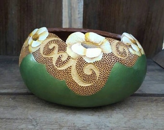 Green Flower bowl- Ready to Ship