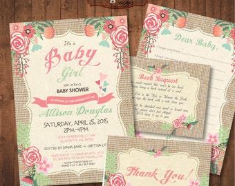 Spring Baby Shower Invitation Pack. Burlap. Digital Printable card