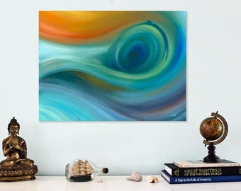 Abstract seascape painting on canvas Abstract original oil painting Abstract wave painting in blue and green Contemporary canvas wall art