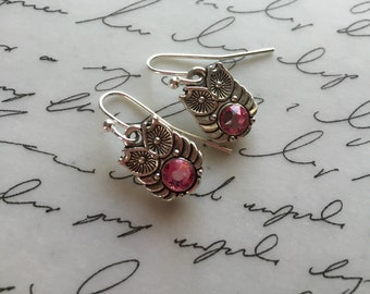 Dainty owls with pink Swarovski crystal belly earrings