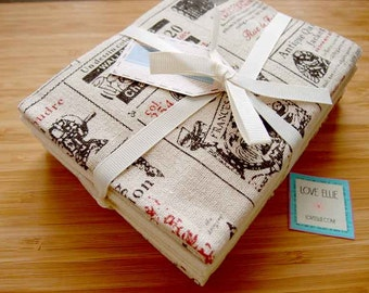 FQ fabric pack - Cotton/Linen fabric, Vintage style prints
