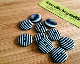 Cute Little Stripey Buttons - Choose from - black, blue, hot pink, purple, turquoise and White Stripe buttons -  2 Hole Buttons, 15mm