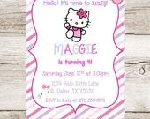 Hello Kitty Birthday Printable Cat Invitation