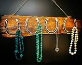 Jewelry Storage Hanger, Horseshoe Jewelry Holder, Wood Jewelry hanger, Necklace Hanger, rustic Horseshoe decor, Jewelry organizer, reclaimed
