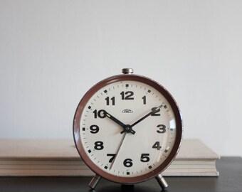 Alarm Clock, Brown Clock, Prim Czechoslovakia Desk Clock, Vintage Clock, Home Decor, Office Decor