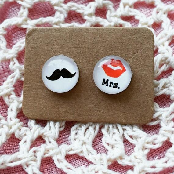 Mrs & Mr Wedding Earrings - surgical steel glass earrings