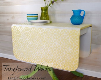 Yellow and Vintage Linen Lace Styled Drop Leaf Table