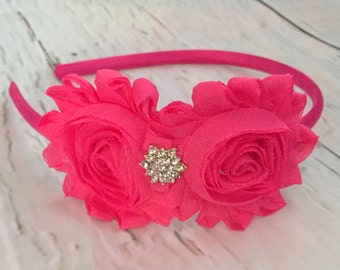 Hot Pink Shabby Chic Headband, Shocking Pink Flower Headband, Wedding Accessories, Vintage Headband, Flower Girl Headband