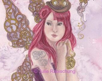 original art- steampunk- fairy- fairy art- steampunk art- watercolor- painting- watercolor painting- art- fantasy- purple- gold- red- tattoo