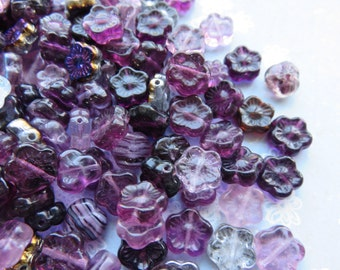 Purple Czech Glass Flower Mix, 24 Beads - Item 3297