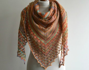 Hand knitted lace shawl multicolor wool wrap warm triangular handmade