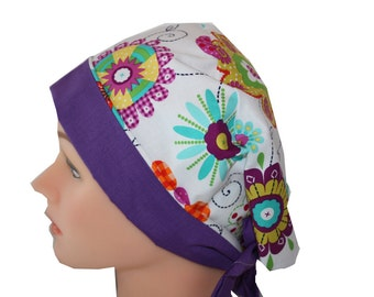 Medical Scrub Hat Surgical Scrub Cap Chemo Hat Front Fold Pixie Floral Purple Teal Pink Yellow Orange 2nd Item Ships FREE