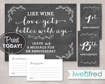 "Chalkboard Message in a Bottle, 8""x10"" Printable Wedding Reception Sign, Wine Bottle Guest Book, Instant Download #WPG001"