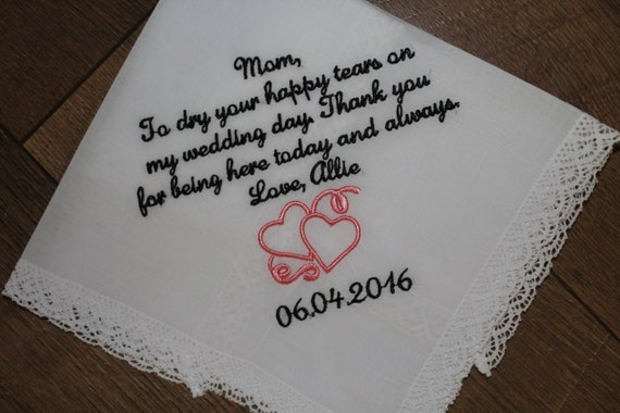 Wedding Gifts For Parents Handkerchief : Wedding handkerchief - Mother of bride gift - wedding gift for parent ...