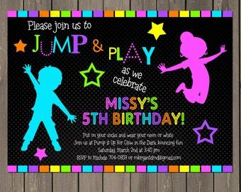 Jump Invitation, Neon Bounce House Invitation, Trampoline Birthday Invite, Neon Party, Glow in the Dark Invitation, Printable or Printed