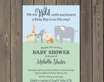 Jungle Baby Shower Invitations, Safari Animals Baby Shower Invitation in Blue Pink or Yellow, Elephant, Lion, Zebra, Giraffe, DIY or Printed