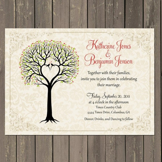 Love Birds Wedding Invitation Tree Themed Wedding Love Birds – Couples Shower Wedding Invitations