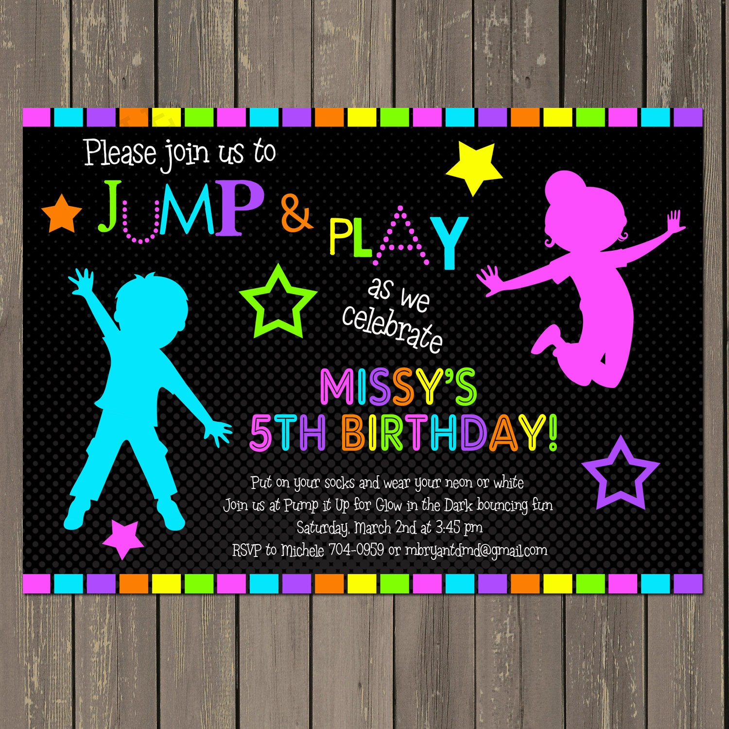 Jump Invitation Neon Bounce House Invitation Trampoline – Pump It Up Party Invitations