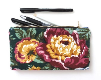 Peony Clutch Purse Pencil Case Cosmetic Pouch Floral Peonies