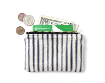 Coin Purse Slim Wallet Zipper Pouch Recycled Blue Ticking Stripe