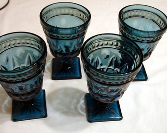 "4 Vintage Teal Blue Wine Beverage Glasses - Heavyweight - 5 1/2"" Tall"