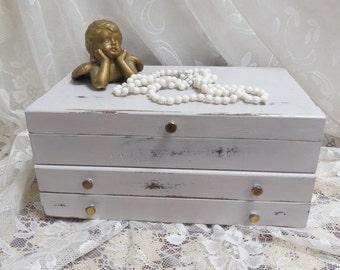 Vintage Wood Jewelry Box Shabby Chic.