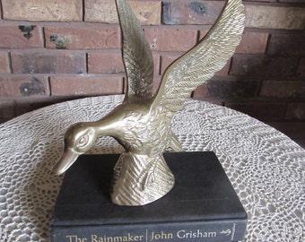Sale-Vintage Brass Mallard Duck with Wings Up.