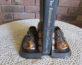 Reduced-Vintage Bronze/Copper Coated Baby Shoe Bookends Shell Back USA.