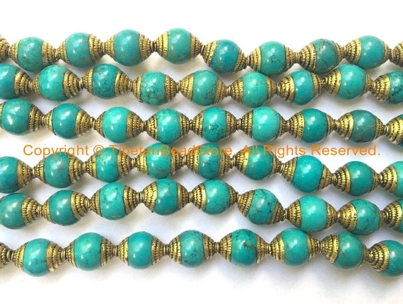 Basket Weaving Supplies Raleigh Nc : Beads tibetan turquoise with brass caps
