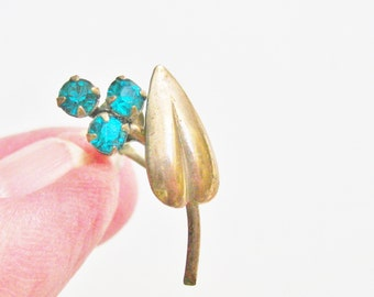 Antique Screw Back Earrings Turquoise Gold Leaves Gift for Women Vintage Jewelry Gold Tone Screwback Earrings Turquoise Rhinestones
