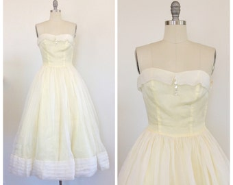 50s Pastel Yellow Strapless Prom Maxi Dress - 1950s Vintage Pleated Evening Gown - Small - Size 4