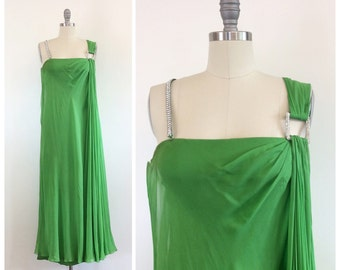 60s Kelly Green Bon Marche Chiffon Party Dress / 1960s Vintage Midi Length Evening Gown With Rhinestone Straps / Small / Size 2