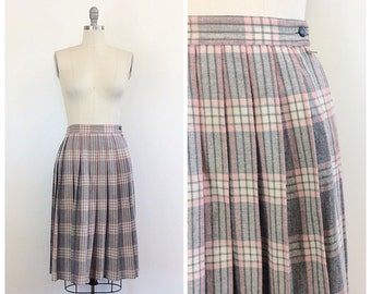 60s Pink and Grey Pam Foster Skirt / 1960s Vintage Plaid Wool Pleated Schoolgirl Skirt / Small / Size 6