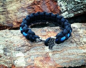 Thin Blue Line Mjolnir Bracelet