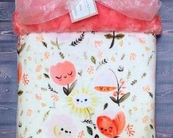 Personalized Floral Minky Blanket, Minky Baby Blanket, Happy Flowers~Baby Blanket