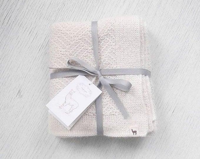 Newborn blanket cream blanket wool blanket baby alpaca blanket baby shower gift knit baby blanket knitted stroller blanket receiving blanket