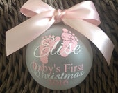 Baby's First Christmas Ornament Pink/White