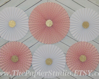 Pink and Gold, Set of Six (6) Paper Rosettes