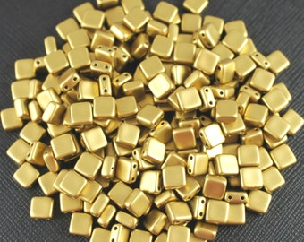 40pcs Czech Glass Beads Tile Two-Hole, Flat Square 6x6x2.9mm, Terra Metallic Olivine Gold  (TL9418)