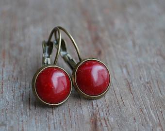 "Rouge dorée """" Cabochon Earrings // Ruby garnet red earrings // gift ideas, Valentine's day"