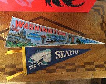 Pair of Vintage Seattle Washington Felt Souvenir Pennants