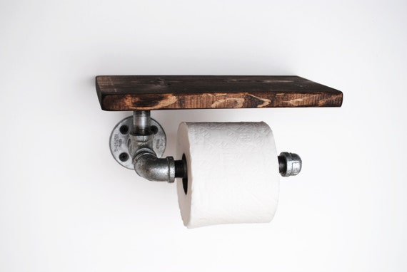 Industrial Toilet Paper holder with shelf galvanized pipe