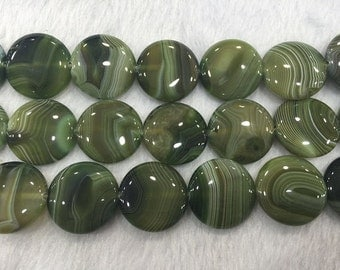 Agate Bead Natural Genuine 25mm Flat Round Banded Atrovirens 15''L 38cm Loose Beads Semiprecious Gemstone Bead   Supply