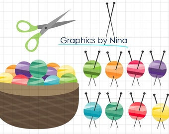 INSTANT DOWLOAD   Knitting Clipart  Scrapbook for Personal and Commercial Use