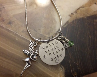 Hand Stamped Tinkerbell Inspired Necklace