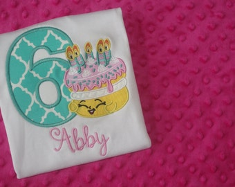 "Shopkins Cake ""Wishes"" Appliquéd Birthday Shirt"