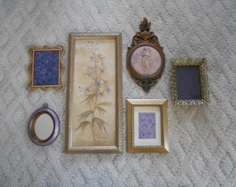 Purple wall collage of frames